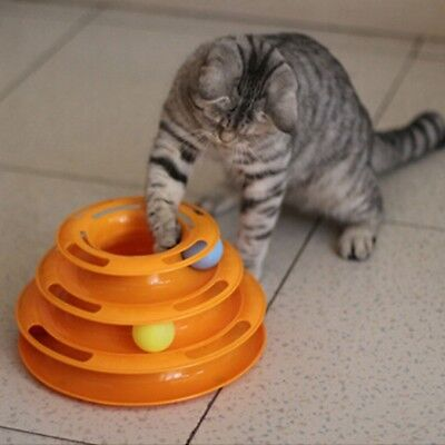 Cute Pet Trilaminar Toy Cat Crazy 3 Ball Disk Interactive Plate Toy Amusement AU