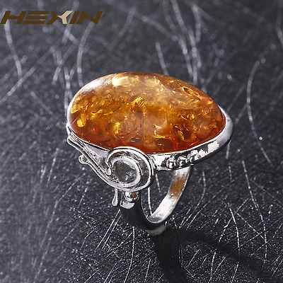 Antique Silver Amber Ring Charms Gorgeous Vintage Baltic Like Jewelry Size 6-10