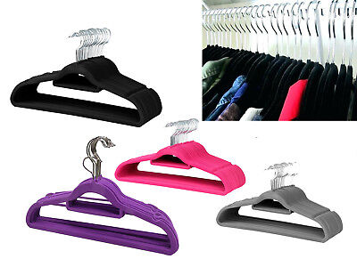 NON SLIP VELVET FLOCKED COAT HANGERS TROUSER GARMENT HANGING SPACE Uk