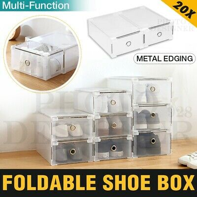 20x Stackable Foldable Clear Shoe Storage Cases Drawer Boxes Home Wardrobe