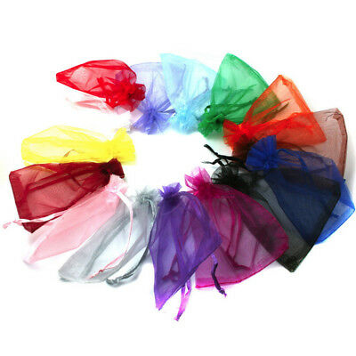 100 LUXURY Organza Gift Bags Jewellery Pouch Colorful Wedding Party Candy Favour