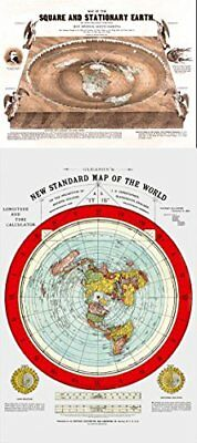 "Flat Earth Maps SET OF 2 MAPS- Flat Earth Map - 24"" x 36"" Gleason's New Stand..."