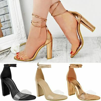 Womens Perspex Clear Block High Heel Sandals Ankle Lace Tie Up Barely There Size