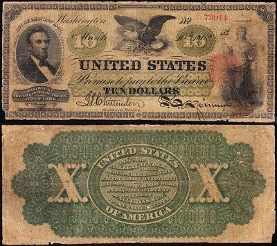 "Genuine *RARE* 1862 $10 LINCOLN ""GREENBACK"" Legal Tender Note! FREE SHIP! 73914"