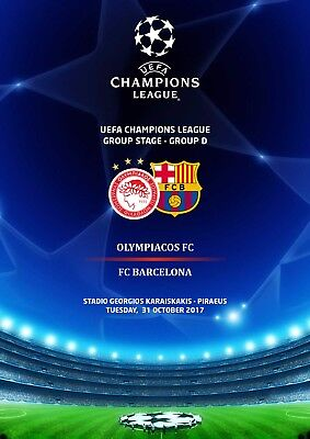 Programme Pirate Olympiacos Barcelona Champions League 2017
