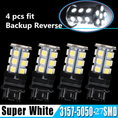 4 X 6000K White 3157 3156 27 SMD LED Tail Brake Stop Backup Reverse Light Bulbs