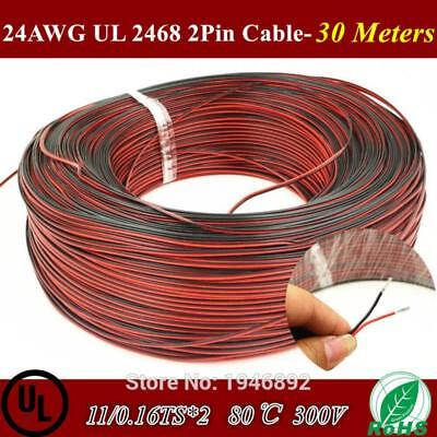 30 Meters-Tinned copper 24 AWG, 2 pin cable,Stranded wire PVC insulated wire
