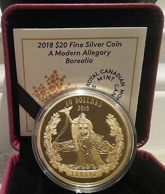 2018 MISS CANADA BOREALIA Modern Allegory $20 1OZ Silver Gold-Plated Proof Coin