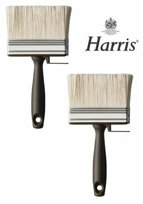 """2x HARRIS PROFESSIONAL 4"""" SHED FENCE & DECKING PAINT BRUSH WOOD BLOCK PASTE WIDE"""