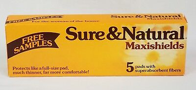 Vintage 80s SURE & NATURAL MAXISHIELDS 5 Sample Pack SEALED RARE