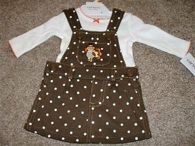 4d8b07647 Carters Baby Girl Thanksgiving Brown Dress Set Size 3 Months 3M 0-3 mos NWT
