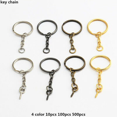 Lot Split Key Ring With Chain Screw Keychain Parts Open Jump 4 Color 10-500PCS