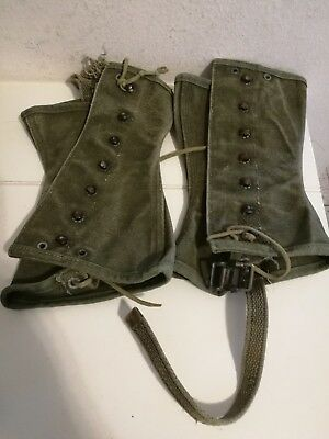US ARMY WW2 WWII M1938 Paratrooper Canvas Leggings Gaiters Spats 2R - GENUINE