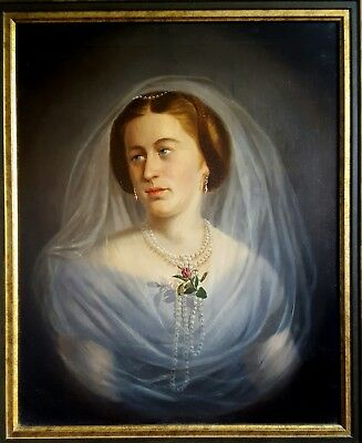 Antique Oil Portrait of a Lady 19 th Century Signed Zalder
