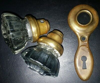 Antique Vintage 12 Point Brass Glass Door Knobs and Keyhole Cover Door Plate