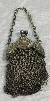 Atq Victorian Tiny Silver Repousse Mesh Chatelaine Purse