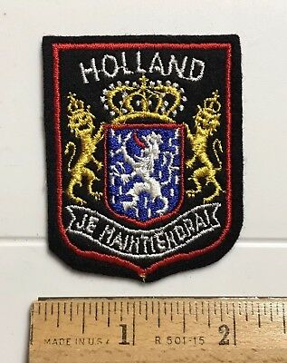 HOLLAND The Netherlands Coat of Arms Je Maintiendrai Black Felt Patch Badge