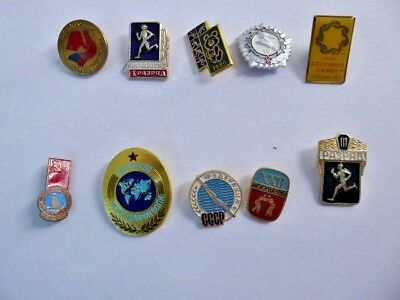 Lot Sale Of 10 Different Sport Award Pins.  Good Condition