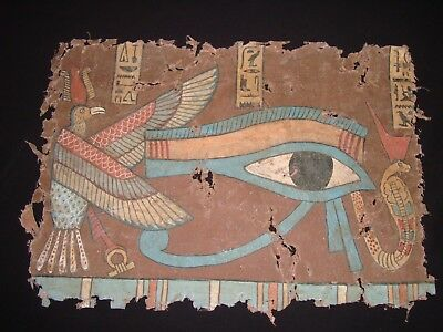 Rare Antique Ancient Egyptian Eye of Horus on linen 1549-1069 BC