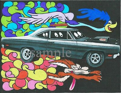 Road Runner Coyote Cartoon Vintage Style Poster  Print ,matte Not Glossy