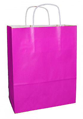 Pack of 25 Pink Paper SOS Food Carrier Bags With Handles Party Takeaway Medium