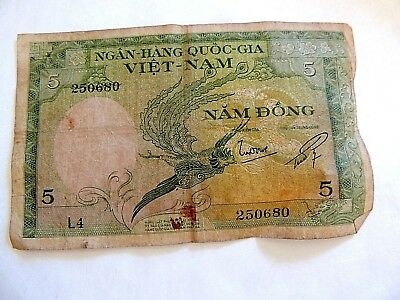 "1955 South Vietnam ""Five Dong"" Bank Note"