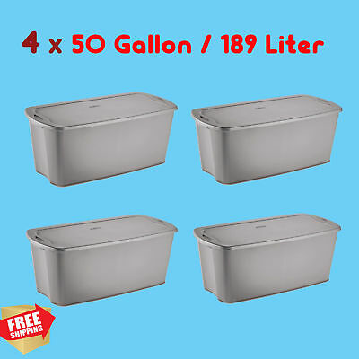 4 PC LARGE Grey 50 Gallon Plastic Storage Containers Stacking Bin