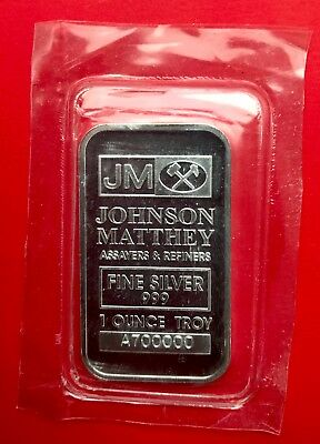 Johnson Matthey 1oz .999 Fine Silver Bar - Neat Serial Number!! 700000