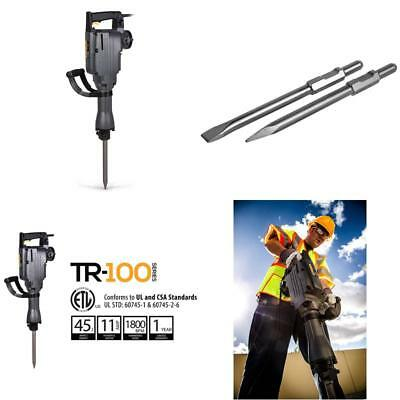 Tr Industrial Tr89105 Electric Demolition Jackhammer With Point And Flat Chisel