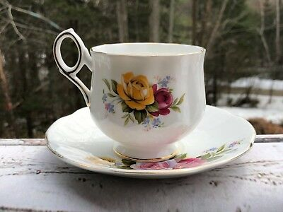 Royal Crest Fine Bone China Vintage Teacup Gold Trim Yellow Pink Roses England