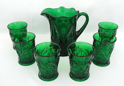Mosser Glass Inverted Thistle - 24 Oz. Pitcher & (6) Tumblers - Emerald Green