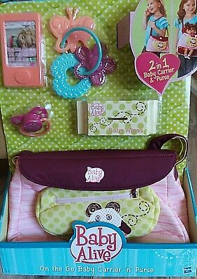 Baby Alive  On The Go Baby Carrier 'N' Purse  Panda  Style New Htf New In Box