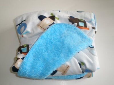 New Circo Transportation Airplanes Trains Cars White Blue Velour Baby Blanket