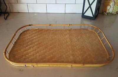 Vintage Tiki Bamboo Rattan Wicker Bed Breakfast Serving Food Tray BRAND NEW OLD