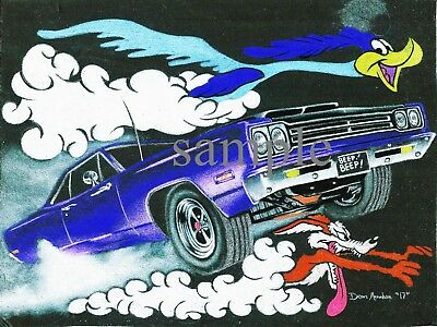 1969 Plymouth Road Runner Car Coyote Vintage Style Poster  Print 4 ,not Glossy