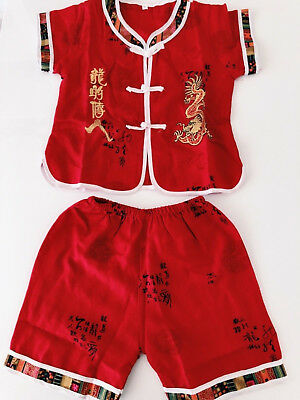 Kids Boy Chinese Red New Year Asian Traditional Tang Han Dragon Costume Outfits