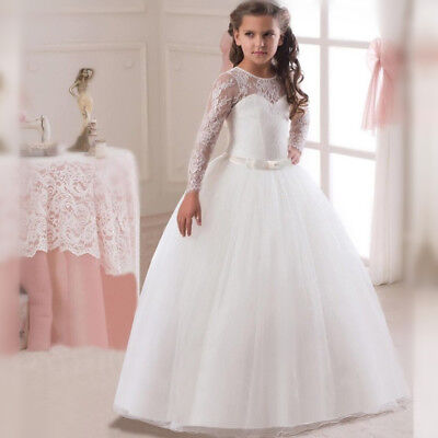 Lace Flower Girl Party Dress White Kid First Communion Prom Pageant Wedding Gown