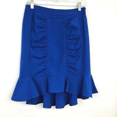 5ed2528eb5 Anthropologie HD In Paris Size 4 Blue Ruffle Pencil Skirt Side Zipper  Stretch