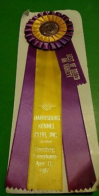 Vintage AMERICAN KENNEL CLUB 1987 Harrisburg Best of Breed Ribbon/ Award