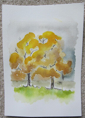 WATERCOLOUR wattle TREE flora HAND painted HOBBY craft Yellows GREENS grey ART