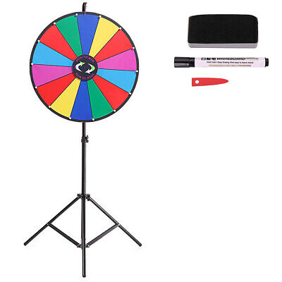 "Editable Upgraded  24"" Color Prize Wheel Fortune Tabletop Spinning Game"