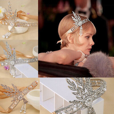 1920s Headband Vintage Bridal Great Gatsby Flapper Costume Dress Accessories TY