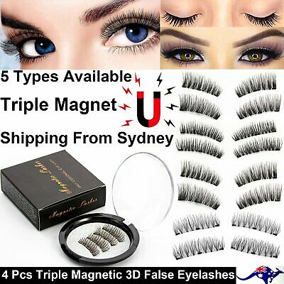 4 Pcs/Set Triple Magnetic 3D False Eyelashes Long Fiber Magnet Thick Handmade
