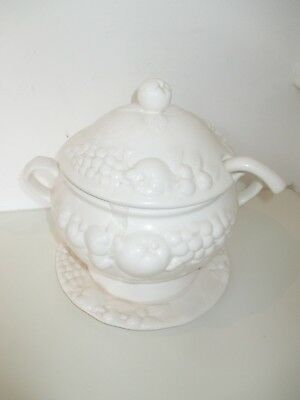 Vintage White Embossed Soup Tureen with Base Plate and Ladle - 3 Litres