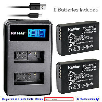 Kastar Battery LCD Dual Charger for Canon LP-E12 LC-E12 & Canon EOS M Camera