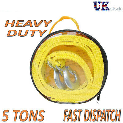5 TONNE 4M Tow Towing Pull Rope Strap Heavy Duty Road Recovery Car Van Wire Rope