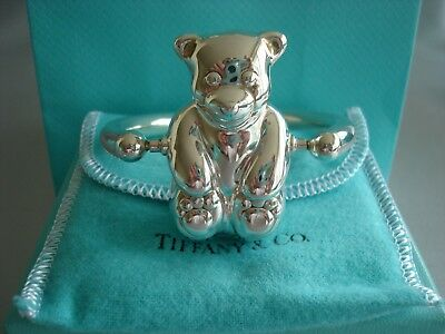 TIFFANY sterling silver ~NEW~ BABY RATTLE ~ TEDDY BEAR ON AXLE~ box,pouch,card