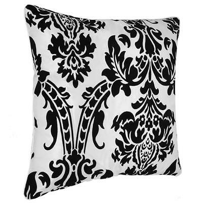 "LUXURY ENGLISH DAMASK FLOCK CUSHION COVERS White (18""X18"") CUSHION WITH PADDING"