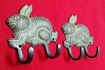 Vintage Style Brass Pair Of Hooks Rabbit Shape Coat Hanger Towel Hanger BM-377