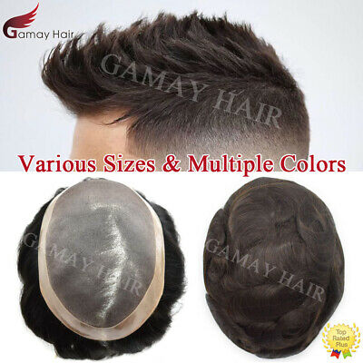 Fine Mono Mens Toupee Hairpiece Poly Pu Around Hair Replacement Monofilament Wig